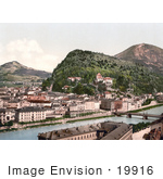 #19916 Stock Picture Of Buildings Along The Salzach River And The Kapuzinerberg And Gaisberg Mountains Salzburg Austria