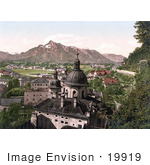 #19919 Stock Picture Of Domes Of The Collegiate Church And Mountains In Salzburg Austria