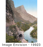 #19923 Stock Picture Of The Train Tunnel Hochstegtunnel And Planspitze Near A River Austro-Hungary