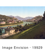 #19929 Stock Picture Of The Village And Festung Hohensalzburg In Salzburg On The Salzach River In Austria