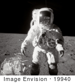 #19940 Stock Picture of Astronaut Alan LaVern Bean in a Space Suit During EVA on the Moon by JVPD