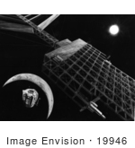 #19946 Stock Picture Of A Microwave Transmission Antenna On A Solar Power Satellite