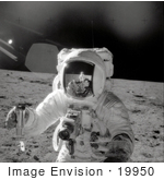 #19950 Stock Picture of Astronaut Alan LaVern Bean Collecting Samples on the Moon in 1969 by JVPD