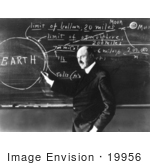 #19956 Stock Picture of Robert Hutchings Goddard Writing on a Chalk Board by JVPD