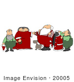 #20005 Santa'S Helpers Dog And Wife Helping Him Get Dressed In The Morning Clipart Picture Illustration
