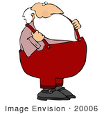 #20006 Santa In Suspenders On Christmas Clipart Picture Illustration
