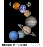 #20024 Stock Photography Of The Solar System Mercury Venus Earth Moon Mars Jupiter Saturn Uranus And Neptune