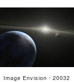 #20032 Stock Photography Of An Asteroid Belt In Orbit Around A Star