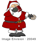 #20049 Santa Eating A Chocolate Chip Cookie And Drinking Milk On Christmas Eve Clipart
