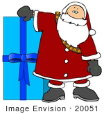 #20051 Santa With A Large Blue Christmas Gift Clipart