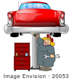 #20053 Blond Mechanic Woman Working On A Red Classic Car That Is Raised On A Jack In A Garage Clipart