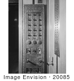 #20085 Stock Photo: Old Elevator Control Panel At The Richfield Oil Building