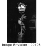#20108 Stock Photo: Griffin Lamp On The Main Stair Newell At The Wilderstein