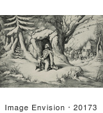 #20173 Stock Photo Of General George Washington Praying In The Snow At Valley Forge
