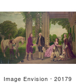 #20179 Stock Photo Of George Washington And Family Welcoming Marquis De Lafayette At Mount Vernon