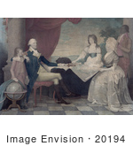 #20194 Stock Photography: George Washington Family And Servant Around A Map At A Table