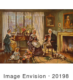 #20198 Stock Photography: George Washington Reading In A Living Room Surrounded By His Family