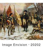 #20202 Stock Photography: General George Washington And Soldiers With Captured Flags