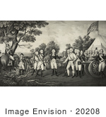 #20208 Stock Photography: British General John Burgoyne Surrendering His Sword to General George Washington After the Battle of Saratoga by JVPD
