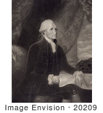 #20209 Stock Photography: George Washington Seated Cross Legged At A Table