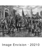 #20210 Stock Photography: George Washington Describing The Flag To Marquis De Lafayette And Soldiers