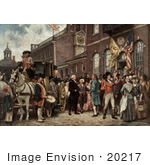#20217 Stock Photography: George Washington Arriving At Congress Hall For His Inauguration