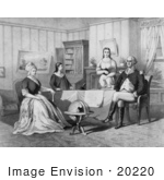 #20220 Stock Photography: George And Martha Washington And Two Children