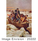 #20222 Stock Photography: George Washington Crossing The Delaware River In A Boat