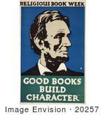 #20257 Historical Stock Photography: Abraham Lincoln On A Vintage Religious Book Week Reading Poster