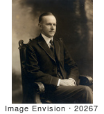 #20267 Historical Stock Photography: President Calvin Coolidge Seated With His Hands In His Lap