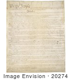 #20274 Historical Stock Photo Of The First Page Of The United States Constitution