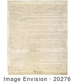 #20276 Historical Stock Photo Of The Third Page Of The United States Constitution