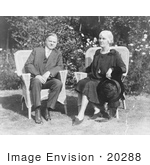 #20288 Historical Stock Photo: Herbert And Lou Hoover Sitting Outdoors In Wicker Chairs On A Sunny Day