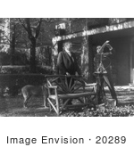 #20289 Historical Stock Photo: President Herbert Hoover And His Dog Outdoors For A Talking Motion Picture
