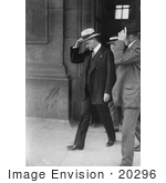 #20296 Historical Stock Photo: President Herbert C Hoover Walking And Holding Onto His Hat