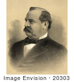 #20303 Historical Stock Photo Of A Portrait Of Grover Cleveland The 22nd President Of The Usa