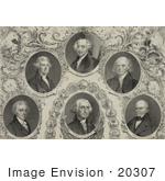 #20307 Historical Stock Photo Of James Monroe Thomas Jefferson John Adams James Madison John Quincy Adams And George Washington American Presidents
