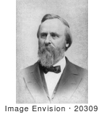 #20309 Historical Photograph of a Black and White Portrait of Rutherford B Hayes, the 19th President of the USA by JVPD