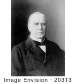 #20313 Historical Stock Photo of a Black and White Portrait of William McKinley, 25th President of the USA by JVPD