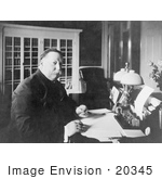 #20345 Historic Stock Photo Of The 27th American President William Howard Taft Working At A Desk