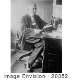 #20352 History Stock Photo Of Warren G Harding 29th American President Working At A Desk