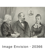 #20366 History Stock Photo Of American President James Garfield His Mother And Wife
