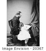 #20367 History Stock Photo of President James Garfield Reading to His Daughter, Mollie Garfield by JVPD
