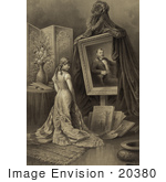 #20380 Historical Stock Photo Of A Beautiful Woman Standing In Front Of A Portrait Of Ulysses S Grant During A Memorial
