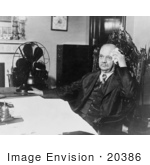 #20386 Historical Stock Photography: Charles Curtis The 31st Vice President Of The Usa Sitting At A Desk On A Hot Day