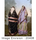 #20408 Historical Stock Photography Of Two Mahomedan Women In Traditional Clothes Their Bodies Concealed