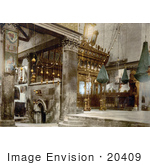 #20409 Historical Stock Photography Of The Interior Of The Church Of The Nativity Bethlehem