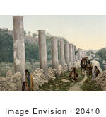 #20410 Historical Stock Photography Of People At The Ruins Of The Colonnade In Samaria Holy Land
