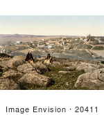 #20411 Historical Stock Photography Of Two People Sitting On Rocks Near Bethany Jerusalem