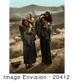 #20412 Historical Stock Photography Of Bedouins And Their Children In The Holy Land